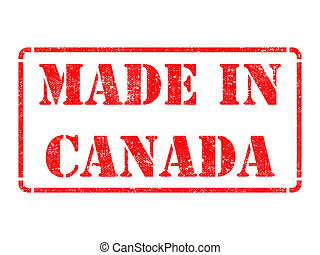 Made in Canada - inscription on Red Rubber Stamp - Made in...