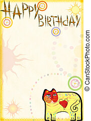 Congratulatory card on birthday with a cat
