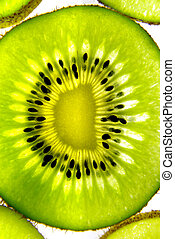 Transparent kiwifruit close-up 2 - Studio shot of sliced...