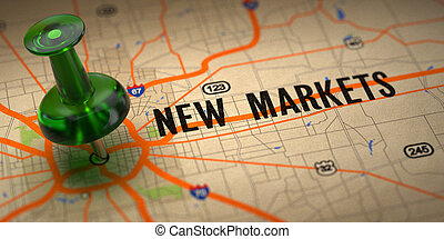 New Markets - Green Pushpin on a Map Background. - New...