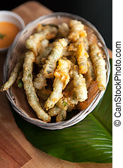 Fried Tempura Asparagus - Thai style appetizer of fried...