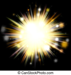 Golden Solar Burst - A bright exploding burst over a black...