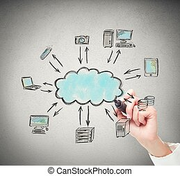 Drawing a cloud computing solution - Businessperson drawing...