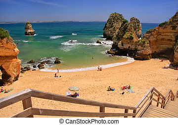 Ponta de Piedade beach in Lagos, Algarve region, Portugal -...