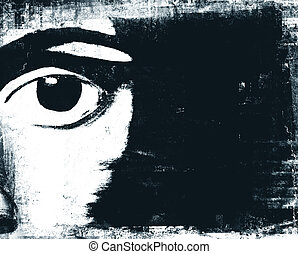 Black eye - Illustration of abstract mans eye