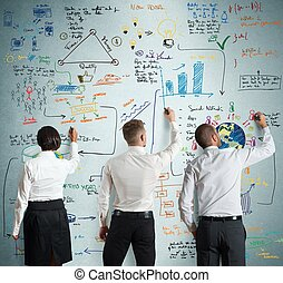 Teamwork with new business project - Teamwork works together...
