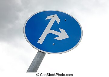 Arrow sign with two directions