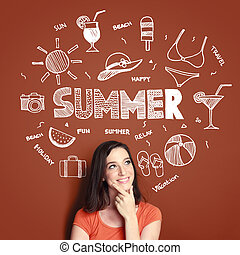 woman smiling thinking of her summer vacation - young woman...