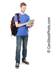 young student using tablet pc