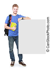 young male student holding white blank board - portrait of...
