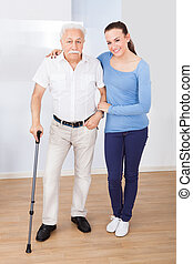 Caregiver With Senior Man
