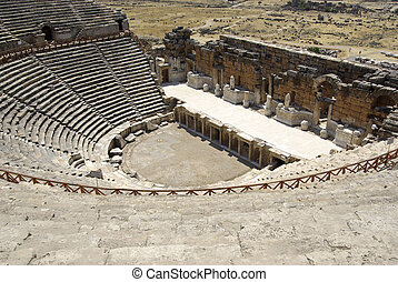 Amphitheater in ancient city Hierapolis Pamukkale, Turkey...