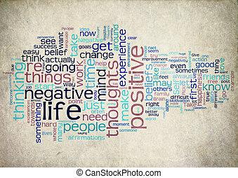 mot, nuage, positif, vie