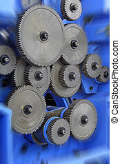 Mechanical equipment gear in a factory, closeup of pictures,...