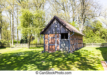 half timbered house under clear blue sky