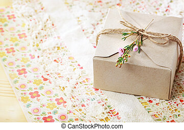 Hand crafted card stock present box with wax flowers