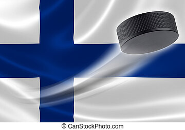Hockey Puck Streaks Across Finland's Flag - Hockey puck...