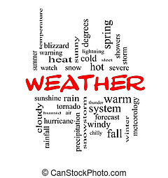 Weather Word Cloud Concept in red caps with great terms such...