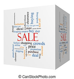 Sale 3D cube Word Cloud Concept with great terms such as...