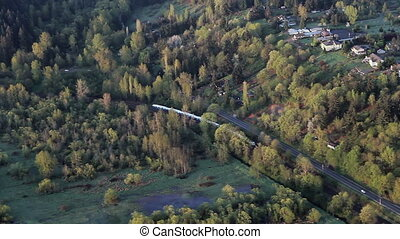 Freight Train in Rural Area - Low-altitude...