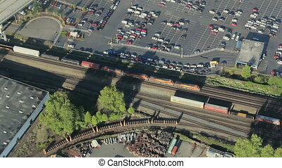 Freight Train in Urban Area - Low-altitude...