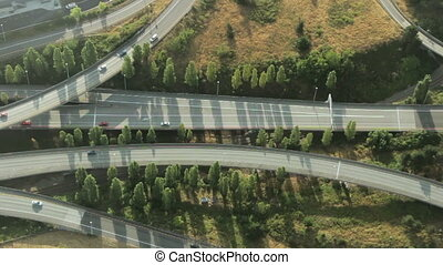 Complex Highway Junction - Overhead close-up view of...
