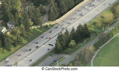 Flowing Interstate Traffic Aerial 2 - Airplane/helicopter...