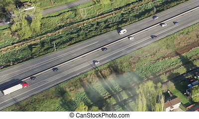 Flowing Interstate Traffic Aerial 3 - Airplane/helicopter...