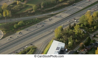 Flowing Interstate Traffic Aerial 5 - Airplanehelicopter...