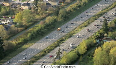Flowing Interstate Traffic Aerial 4 - Airplane/helicopter...
