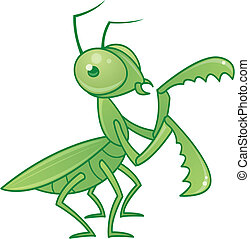 Praying Mantis - Vector drawing of a cute and friendly...