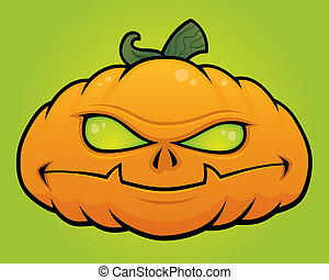 Pumpkin Monster - Spooky vector Halloween pumpkin head...