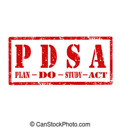 PDSA-stamp - Grunge rubber stamp with text PDSA-Plan Do...