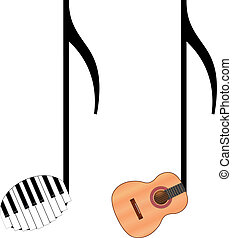 funny music notes - isolated funny music notes on white...