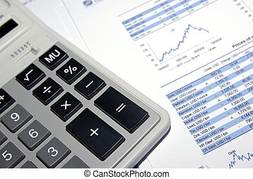 Calculator and financial analysis report Conceptual