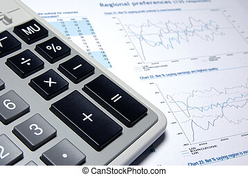 Calculator and business report.