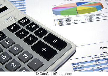 Calculator and financial analysis report.