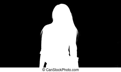 Silhouette of sexy girl. Matte, chroma - matte shot of a...