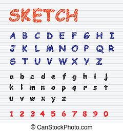 Sketch Font Vector Set