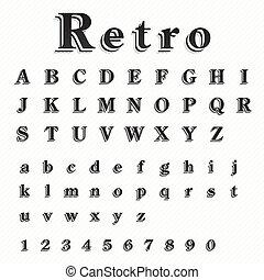 Retro Font Vector Set