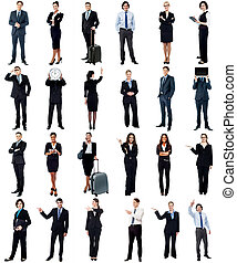 Group of business people, collage concept.