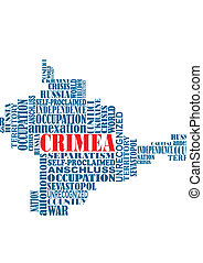 Vector conceptual word map of Crimea, ukrainian territory,...