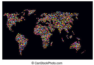 Grunge colourful collage of world map on black background -...