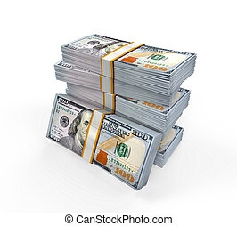 Stacks of New 100 Dollar Banknotes - Stacks of New 100 US...