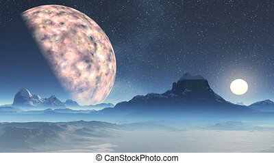 Two Moons - At night the starry sky a huge planet and a...