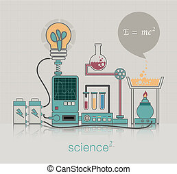 Science - Equipment in a science experiment with a table in...
