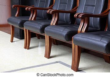 cuir, sièges, conférence, salle