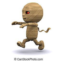 Running 3d Egyptian mummy - 3d render of an Egyptian mummy...