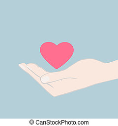 Hand cupping a red heart - Vector illustration of a hand...