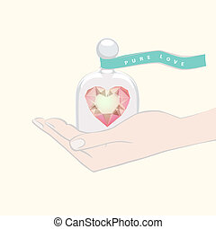Hand giving the gift of a heart under a glass dome - Hand...